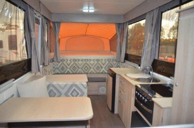 Eastern Caravan Hire Jayco poptop van internal swan kitchen