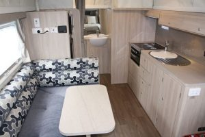 Eastern Caravan Hire Jayco starcraft poptop kitchen and seats